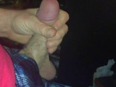 Playing with my huge cock again.