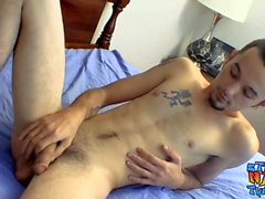 Young deviant Wiley relaxes with bedroom masturbation