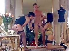 CFNM femdoms threeway with a lucky guy