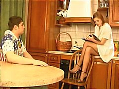 Brother and sister get busy in the kitchen and use their feet