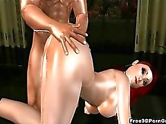 Foxy 3D redhead sucks cock and gets fucked hard