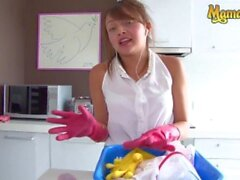 'OperacionLimpieza - Jenny Marin Perfect Ass Colombian Maid Cleans Owner's Big Cock - MAMACITAZ'