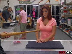 Huge tits woman selling her baseball bat