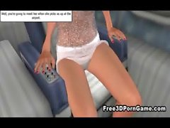 Sexy 3D vixen seducing a horny stud on an airplane