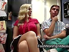 Barefoot blond milf fucks guy in kitchen
