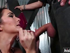 Long dong disappears in a brunette babe