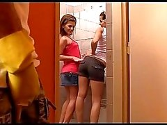 A guy submits to two bossy and strict girls Kiki and Sandra