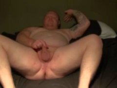 Chubby guy with pierced dick and ass play