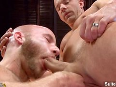Tattooed married guy Brock Armstrong gets fucked by bald gay Drake Jaden