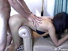 Skinny bar whore lets white dude ravage her Asian pussy