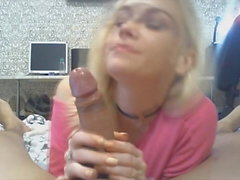Blonde Gal Enjoys Sucking Her BF's Cock