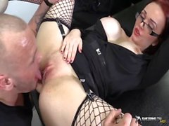 Horny busty secretary sucking her boss&#039_ cock