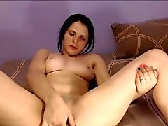 Brunette camgirl orgasm finger masturbation on webcam