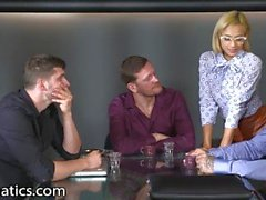Hot Young Secretary Gangbanged in Conference Room-DPFanatics