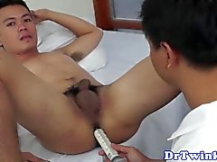 Enema receiving asian twink bareback drilled