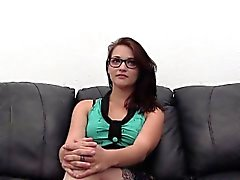 Curvy Spinner in Glasses Auditions by Swallowing Cum