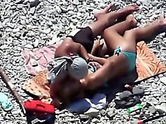 Sex-starved couple go to the beach and get into some hot ac