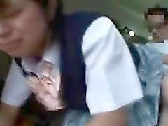 Asian schoolgirl with a hot ass is punished and not happy a