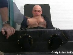 Bald hunk enjoys is feet and body tickling by an older dude