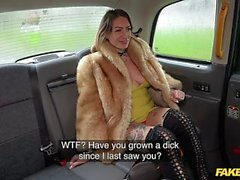 Fake Taxi Ava Austen rides a big black dildo on the backseat