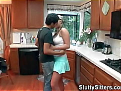 Busty babysitter fucks in the kitchen